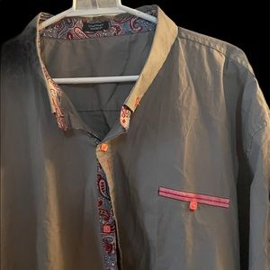 Coofandy grey and pink paisley dress shirt